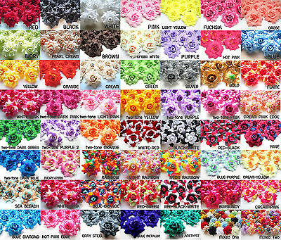 """100X Roses Artificial Silk Flower Heads Wholesale Lots for Clips Wedding 1.75"""""""