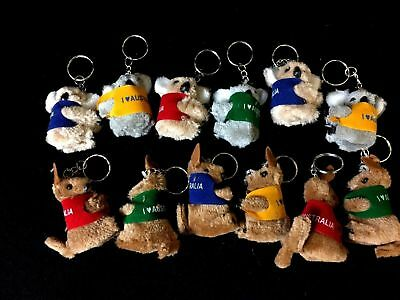 10 Australian Souvenir Keyrings Clip On mini Kangaroo Keyring Brand New
