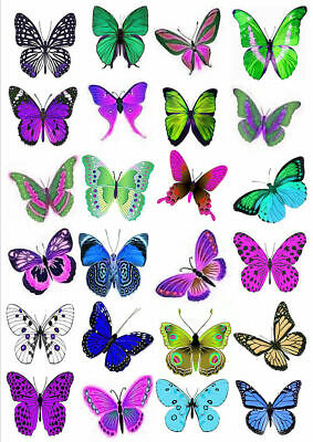 24 X Large Colourful 5Cm Dia Mixed Butterflies Edible Cupcake Toppers Rice Paper