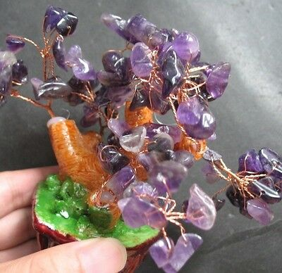 120mm Height AMETHYST CHIPs CRYSTAL GEMSTONE STONE DECOR Mini-TREE