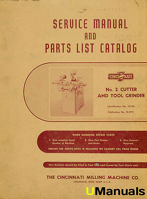 Cincinnati #2 Cutter and Tool Grinder Service and Parts Manual