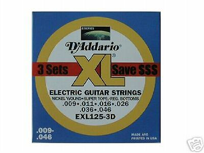 D/'ADDARIO EXL125-3D SUPER LT//REG NICKEL WOUND ELECTRIC GUITAR STRINGS 3 PACK