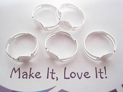 5 x SILVER PLATED RING BLANK 8MM PAD ADJUSTABLE FOR CABACHON