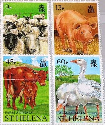 ST HELENA 1990 522-25 524-27 Nutztiere Farm Animals Sheeps Pig Cows Geese MNH