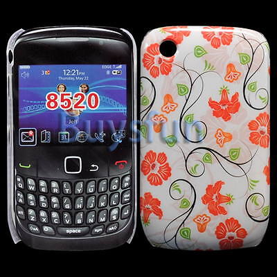 Red Flower Style Hard Cover Case For Blackberry Curve 8520 8530