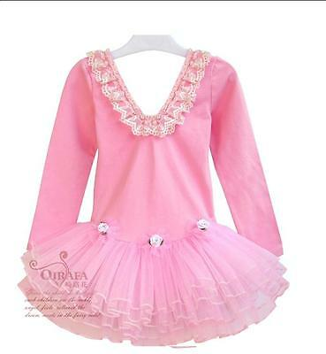NWT Girl Tutu Dance Ballet Cotton Long Sleeves Dresses Leotards Light Pink 2-7T