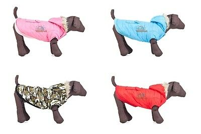 Dog Coat Padded cotton faux fur trimmed hood~Pink Blue Black Brown Red