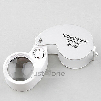 40X 25mm Magnifier Jewelry Jeweler Eye Loupe LED Light 40 times Magnifying Glass