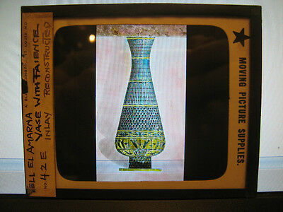 Antique 30s/40s Egyptian Magic Lantern Glass Slide Tell El Amarna Vase w/ Inlay