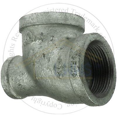 """5 x Gal. Malleable Pipe Fitting  Reducing Tee 1-1/4""""x 3/4""""x 1-1/4"""""""
