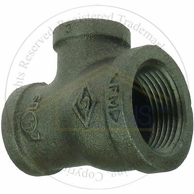 """5 x Black Malleable Pipe Fitting  Reducing Tee 1"""" x 3/4"""" x 1/2 """""""