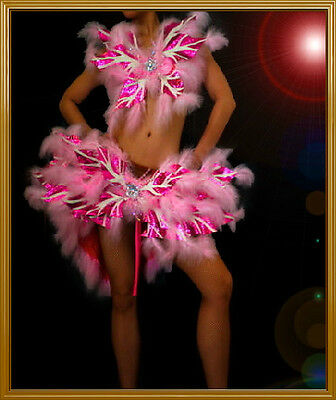 PINK Feather BURLESQUE COTTON CANDY SHOW GIRL Dress