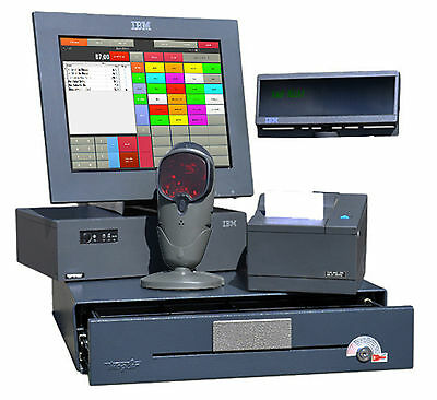 A-Ware! Ibm Pos Kasse Surepos 300 Touchscreen Drucker Scanner Kundendisplay Top!