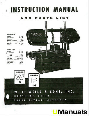 WF Wells W-9 F-14 Band Saw Instruction and Parts Manual