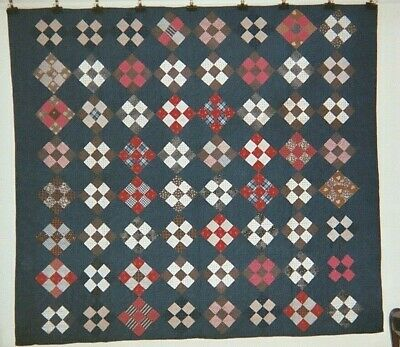 "Traditional ""NINE PATCH"" Quilt: 68"" x 76"", Ohio, Mennonite-made, c.1890. Cottons"