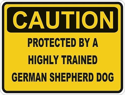 1x CAUTION PROTECTED BY GERMAN SHEPHERD DOG WARNING FUNNY STICKER DOG PET