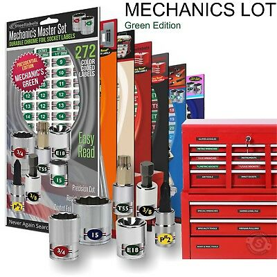 Mechanics Lot - Green Labels for Toolboxes- Socket Sets - Breakers -+ more