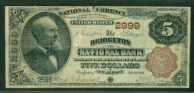 $5.00 National Currency – Brown Back, BRIDGETON NB New Jersey, 1882, Fr. #474,