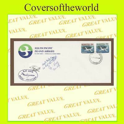 Tonga 1983 South Pacific Island Airways signed cover + tied label