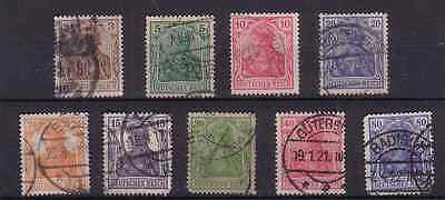 """OLD GERMANY STAMPS.  1902 +1916 COLLECTION OF 9   """"GERMANIA""""."""