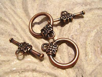 5743FY Antique Copper plated Brass Flower Toggle Clasp, 10 sets.