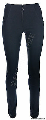 Ladies Black Zip Skinny Leg Trousers Womens Strech Hipsters Sizes 6-14