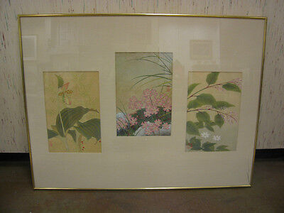 Antique Asian Early 20th Century Hand Colored 3 Part Lithograph w/ Floral Theme
