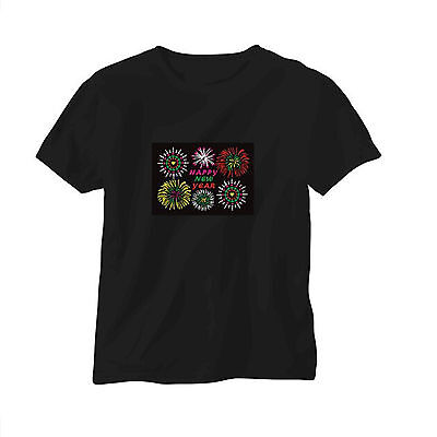 Sound Activated EL LED T-Shirt Tee Tshirt Happy New  Year Flashing Dancer Party