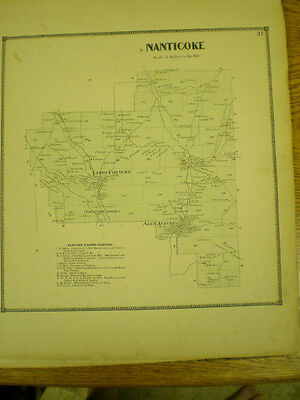 Original 1866 Map Town Of Nanticoke  Broom County Ny With Landowners Listed