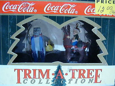Coca Cola Trim A Tree Miniature Ornament Set- Polar Bear In Skies & Elf On Deer