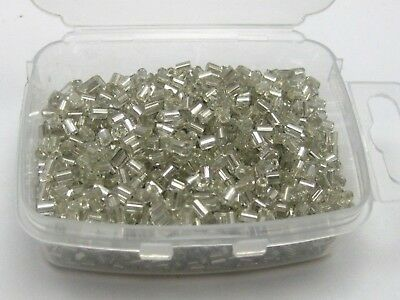 5000 Glass Tube Bugle Seed Beads 2X2mm White Silver-Lined + Storage Box