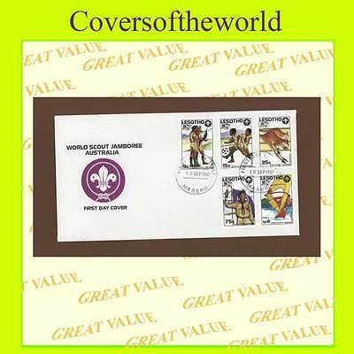Lesotho 1987 World Scout Jamboree Australia, set First Day Cover