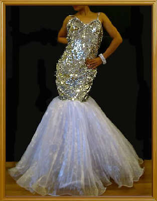CUSTOM WHITE Drag QUEEN PAGEANT Mermaid Dress GOWN