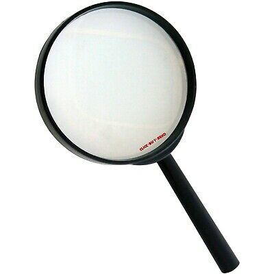 "LARGE MAGNIFYING GLASS MAGNIFYING GLASSES 4"" 3X GLASS LENS 100mm OPTICAL NEW"
