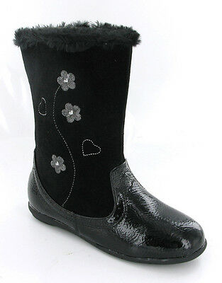 Patent Black Fur Top Quilted Mid Calf Zip Flat Girls Infants Boots Size 4-12