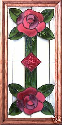 Stained Glass Hand Painted Art DOUBLE ROSE
