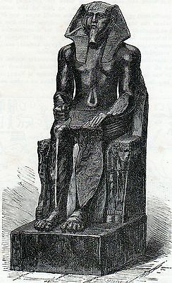 Antique print Chefren Statue at the Cairo Museum Egypt 1881