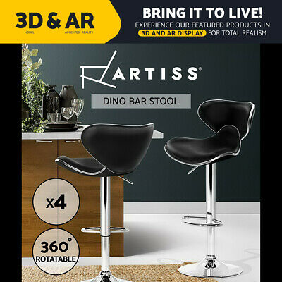 4x Bar Stool Kitchen Barstool Premium PU Leather Gas Lift Chair Black 1060