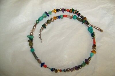 "Handcrafted Sterling Silver Choker Coil Necklace, Multi Gemstones, 4""D"