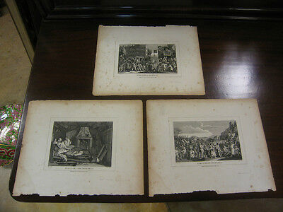 Antique Early 19th Century Hogwarth Industry of Idlesness 3 Prints of 12 Series