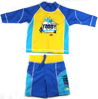 Baby Boys Swimsuit Size 0 1 2 Swimmers Rash Set Bathers Sunsuit Togs New!
