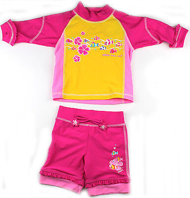 Baby Girls Swimsuit Size 0 1 2 Swimmers Rash Set Bathers Sunsuit Togs N