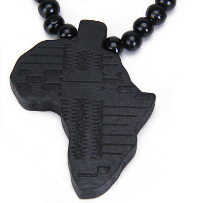 Mens Charm Wooden African Africa Map Pendant Nelace Wood Beads Chain Gift