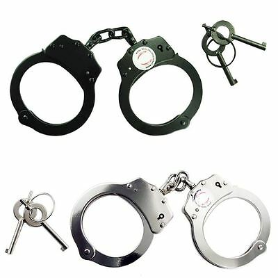 2pc SET Handcuffs NICKEL PLATED Double Lock Police Hand Cuffs w/ Keys HCSET