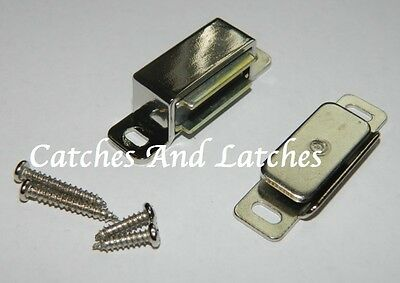 8kg Pull /& Screws 6x Steel Magnetic Nickel Plated Cabinet Drawer Door Catches