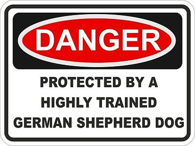1x DANGER PROTECTED BY GERMAN SHEPHERD DOG WARNING FUNNY STICKER PET Aufkleber