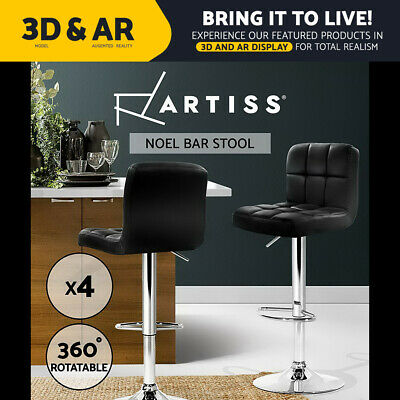4 x PU Leather Bar stool Kitchen Chair Barstool Gas Lift Black Noel 1055