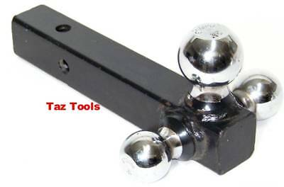"""Triple Ball Hitch Mount For 2"""" Receiver Tow Trailer 1-7/8"""" 2"""" 2-516"""" Hitch Balls"""