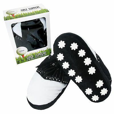 New Mens Novelty Golf Slippers Great Christmas Xmas/Fathers Day Gift Sizes 7-12