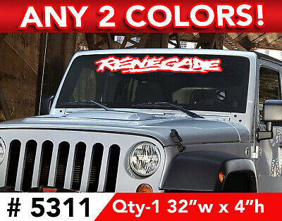 """JEEP WRANGLER """" RENEGADE """" RUGGED 2 Color WINDSHIELD DECAL STICKER 32""""w x 4""""h"""